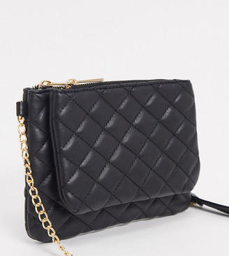 Glamorous Exclusive cross body bag with double compartments in black with chain handle