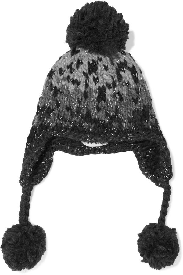 Eugenia Kim Skye Pompom-embellished Metallic Wool-blend Jacquard Trapper Hat