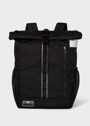 Paul Smith Men's Black Roll-Top Backpack With Reflective Trims