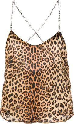 Philipp Plein Leopard-Print Silk Tank Top