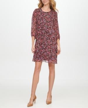 Calvin Klein Balloon-Sleeve Chiffon Dress