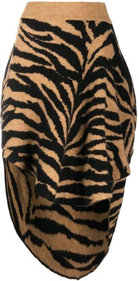 MM6 MAISON MARGIELA Tiger-Print High-Low Skirt