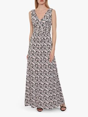 Gina Bacconi Kelina Geometric Maxi Dress, Pinky Grey