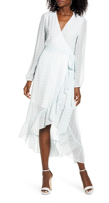 WAYF Only You Long Sleeve High/Low Wrap Dress