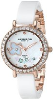 Akribos XXIV Women's AK762RGW Swiss Quartz Movement Watch with White Mother of Pearl and Rose Gold Dial with Printed Flowers and White Ceramic Bracelet