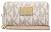 MICHAEL Michael Kors Brown Signature Logo Jet Set Large Flat Phone Case