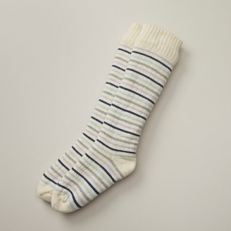 Indigo Mini Stripe Reading Socks Multi-Ivory