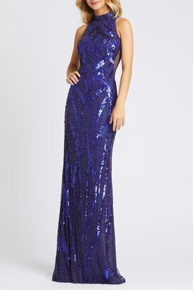 Mac Duggal High Neck Beaded Sequin Sheath Gown