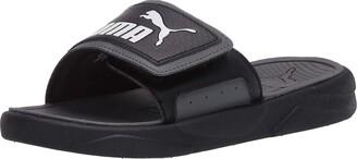 Puma Royalcat Slide Sandal Black-Castlerock White 10 M US