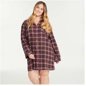 Joe Fresh Women+ Flannel Nightshirt, Dark Orange (Size 2X)