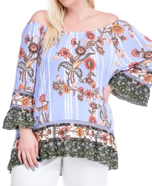 Fever Plus Size Printed Peasant Top