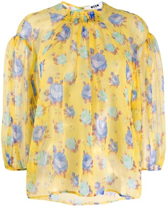 MSGM Floral Print Silk Blouse