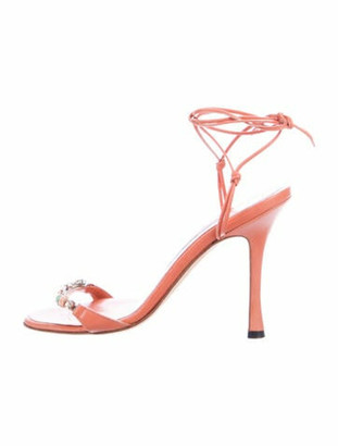 Manolo Blahnik Leather Sandals Orange