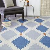 west elm Phoenix Wool Dhurrie Rug - Regal Blue