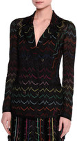 Missoni Zigzag Stereo Double-Breasted Jacket, Black Metallic