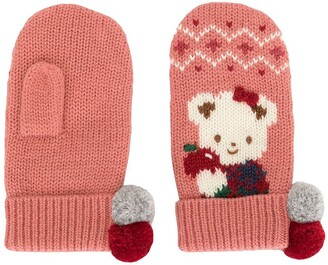 Familiar Intarsia Knit Mittens