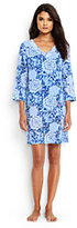 Lands' End Women's Petite Embroidered Woven Tunic Cover-up-Deep Sea Augustina Mum