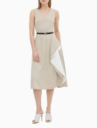 Calvin Klein V-Neck Belted Colorblock Ruffle Dress