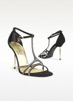 Crystal T-strap Black Suede Evening Sandal