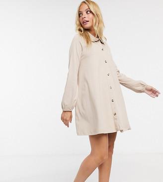 ASOS DESIGN Petite mini dress with lace trim collar in beige