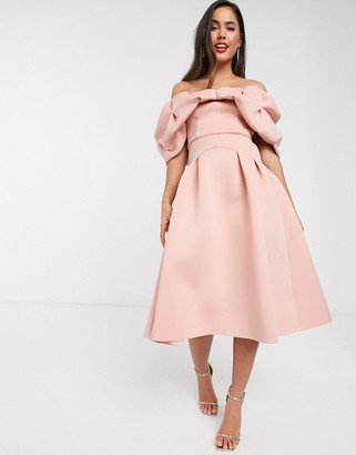 ASOS DESIGN bardot bubble midi prom dress in nude