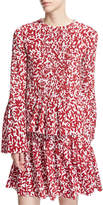 Oscar de la Renta Abstract-Print Full-Sleeve Blouse, White/Red