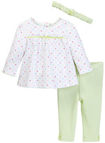 Little Me Multi Dot Tunic, Legging, & Headband Set (Baby Girls)