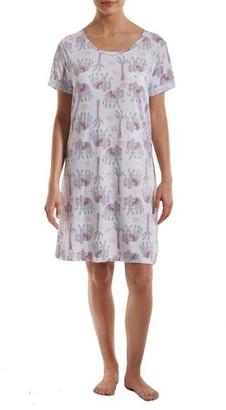 Jaclyn Intimates Women's Short Sleeve Sleepshirt with Chest Pocket Detail