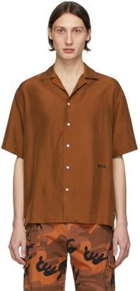 MSGM Brown Silk Shirt
