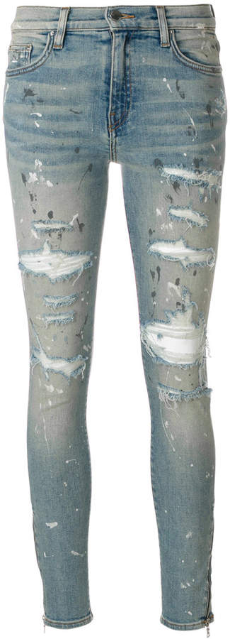 Amiri Thrasher ripped painted skinny jeans