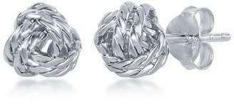 La Preciosa Sterling Silver Italian Double Wire Diamond-Cut Love Knot Stud Earrings - 8mm