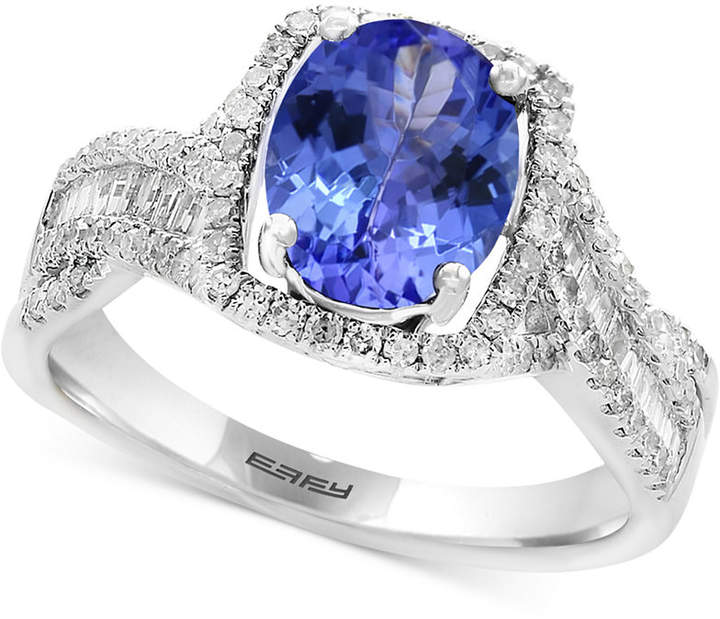 Effy Tanzanite Royale by Tanzanite (1-3/4 ct. t.w.) & Diamond (3/8 ct. t.w.) Ring in 14k White Gold