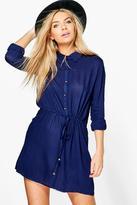 Boohoo Camelia Lace Sleeve Belted Shirt Dress