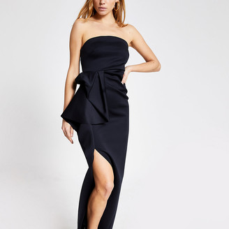 River Island Black strapless ruffle bodycon maxi dress