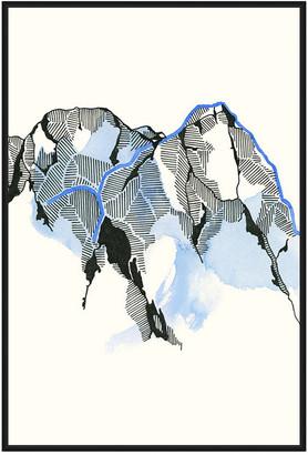 Jonathan Bass Studio Mountain Abstract 3, Decorative Framed Hand Embell