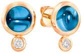 Tamara Comolli Bouton 18k Rose Gold London Blue Topaz/Diamond Post Earrings