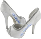 Bow Flip Flops Personalized Wedding Heels 4.5 inch Ivory or White Customizable High Peep Toe Bridal Pump (Ladies 10, White)