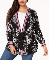 INC International Concepts I.N.C. Plus Size Striped-Trim Kimono, Created for Macy's