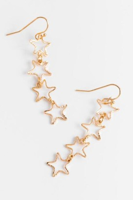 francesca's Gisella Linear Drop Star Earrings - Gold