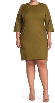 Sharagano Pintuck 3/4 Sleeve Sheath Dress (Plus Size)