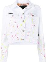 Philipp Plein denim paint splatter jacket