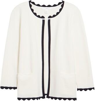 1901 Scallop Trim Cotton Blend Sweater Jacket