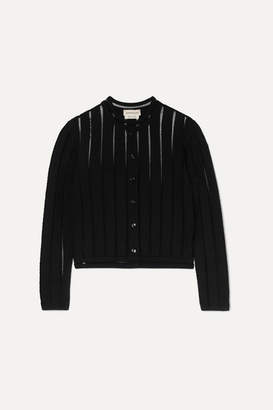 Alexander McQueen Cropped Knitted Cardigan - Black