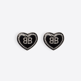 Balenciaga Crush earrings in black resin and crystal rhinestones