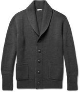 Tomas Maier Shawl-collar Ribbed Wool Cardigan - Dark gray