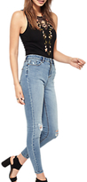 Miss Selfridge Lizzie Authentic Bust Knee Ripped Jeans, Mid Blue