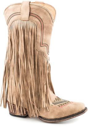 Roper Women's Western Boots TAN - Vintage Beige Fringe Cowboy Boot - Women
