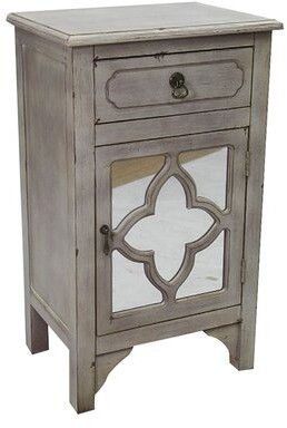 Ophelia & Co. Rahil 1 Door Mirrored Accent Cabinet Color: Antique White