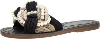 Chanel Two Tone Rope With Faux Pearls Cuba Slide Sandals Size 37