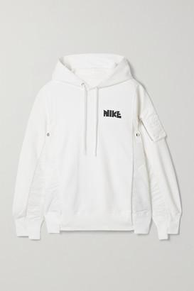 Nike Sacai Nrg Oversized Paneled Printed Cotton-blend Jersey And Shell Hoodie - White